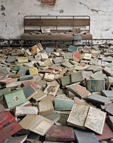 <p>Classroom books, North Brother Island, New York.</p>