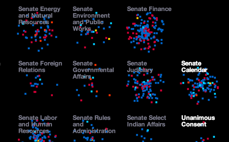 <p>Click play, and an animation shows pixels zooming out from the Senate (left) or House (right) into the committee like red and blue fireworks, according to the day they were introduced. Clicking on each pixel brings up a fact sheet, including what the bill does and who sponsored it.</p>