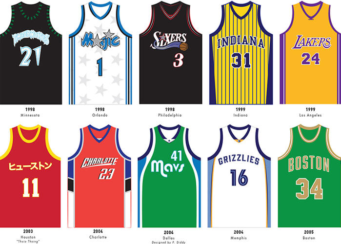 <p>The 2000s brought a more sober, simpler appearance to jerseys in the NBA.</p>