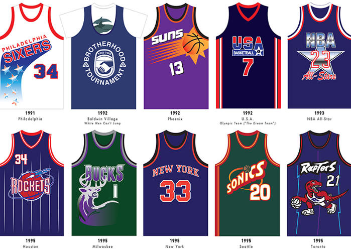 <p>Hard to believe that 1995 was the year of both the staid New York Knicks jersey and the garish dribbling dinosaur of Toronto.</p>