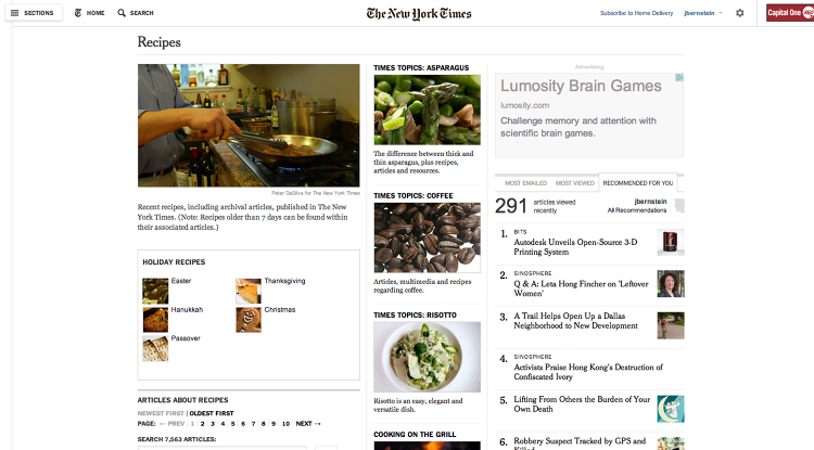 <p>Here's what the NYT Cooking Page looked like before.</p>