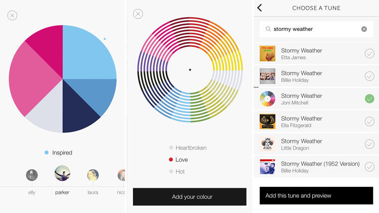 <p>Users can react to each other's photos by selecting color-coded emotions from the app's &quot;emotion wheel&quot;; these reactions are depicted in a pie chart below each Tunepic. Users can search for and add songs from the iTunes catalog to their photos, as well.</p>
