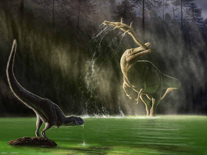 <p>In a reversal of the more commonly portrayed attack, the spinosaurid Suchomimus snags a young Sarcosuchus by the tail in Cretaceous Niger as a young Kryptops drinks.</p>