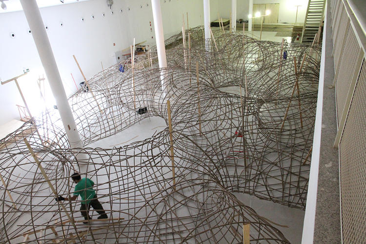 <p>This enormous piece is constructed of a wooden shell with tapumes covering it, creating a series of tubes.</p>