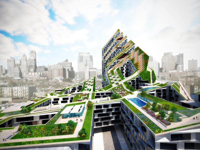 <p>Garden In The Machine is a greenery-covered, hill-like building that molds to the varied context of the neighborhood, which changes from low-rise to high-rise over the few blocks the site spans.</p>