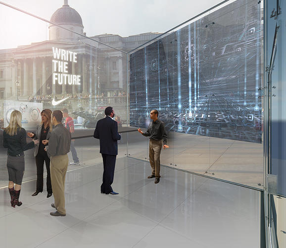 <p>It's basically an updated and more stylish version of an Internet cafe, designed to encourage more interaction. Large touch-screen computers project on the walls, and while someone catches up on a last-minute presentation or some email, they have the option to display a logo on the wall as advertising for their company.</p>