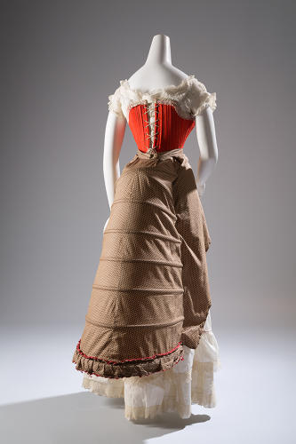 "<p>""The evolution of the corset is fascinating,"" exhibition designer Colleen Hill says. Corset and bustle made of wool, silk, cotton, and steel, circa 1880, France/USA.</p>"