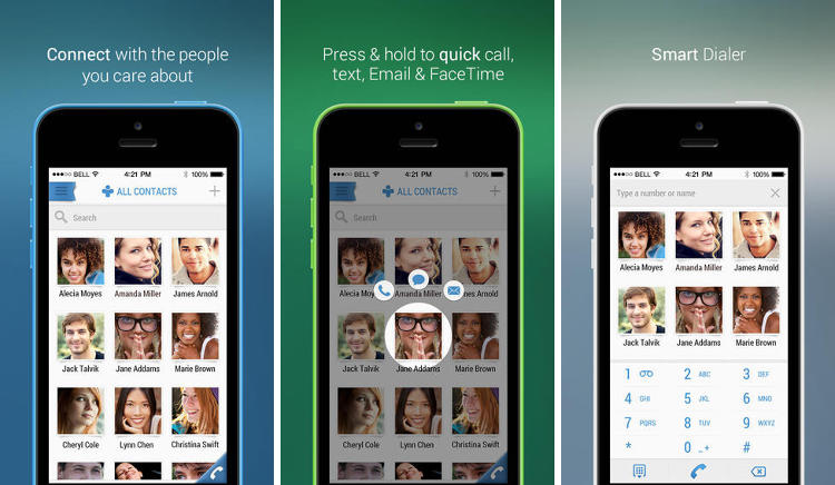 <p>An all-in-one dialer, SMS messenger, and social networking app. Your favorite people are automatically prioritized to drift to the top, and their profiles integrate with Whatsapp, Facebook, Twitter, Linkedin, and Foursquare in one app. You can use this one as a one-stop stalking app.</p>