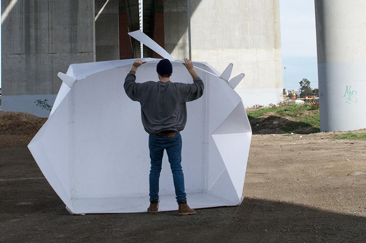 <p>This pop-up shelter is one alternative. With a few simple adjustments, a flat sheet of plastic transforms into a weatherproof shelter that can house a small family of two adults and two children.</p>