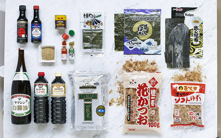 <p>Here, the sushi pantry, which includes kelp, miso, nori, rice vinegar, roasted seaweed, and soy sauces of various types.</p>