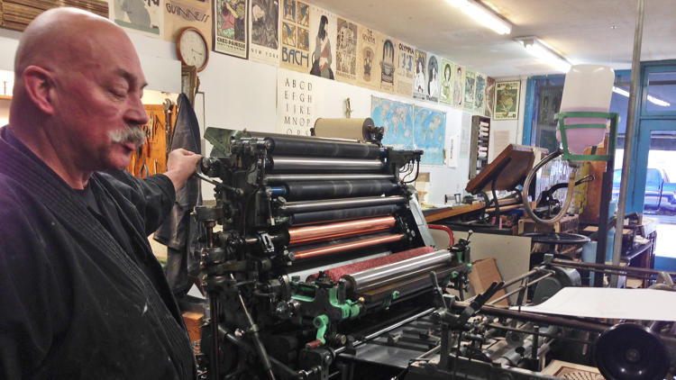 <p>In 1966, shortly after his 20th birthday, Goines took an apprenticeship with a printer who had just moved into the store Goines occupies to this day.</p>