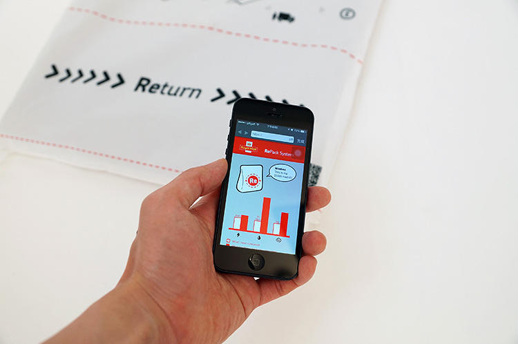 <p>A connected app tracks how much material you've saved over time.</p>