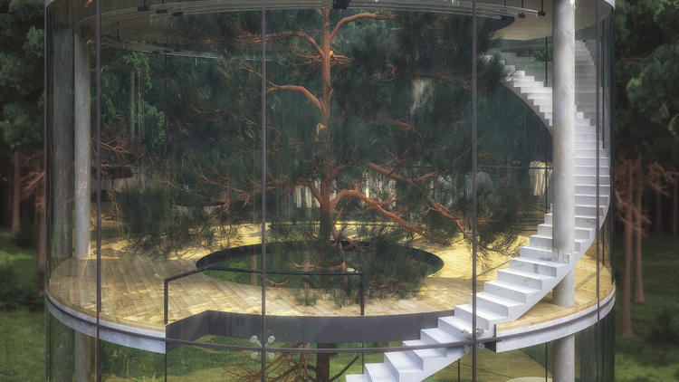 <p>The design features a three-storied circular building constructed around a 40-foot fir tree, encapsulating the trunk and its branches with a cylindrical glass shaft and a circular staircase,  allowing the home's denizens to both be immersed in nature and harbored from it at the same time.</p>