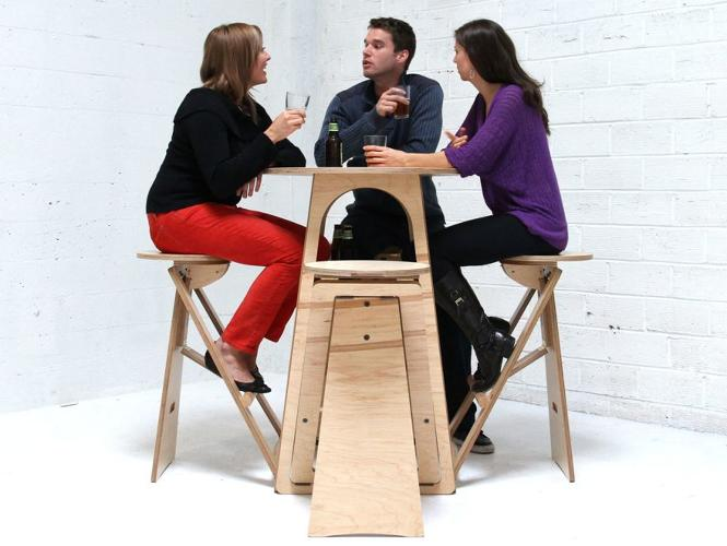 <p>One of the (many!) pleasures of tiny homes is watching things fold away into just-right little nooks. The <a href=&quot;http://tinyhousetalk.com/quad-micro-bar/&quot; target=&quot;_blank&quot;>Quad Micro Bar</a>, from designer Joe Warren, is a small circular table--bistro-style--and with four stools cleverly hidden away within the table's base.</p>