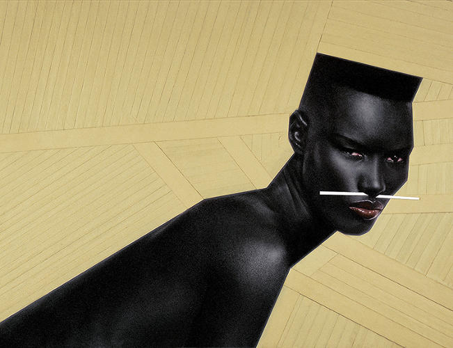 <p>While Miyake still oversees the work done at the Miyake Design Studio, it's research and development he truly loves, and 21_21 has given him the platform to continue that. Here, a piece by French graphic designer Jean-Paul Goude.</p>