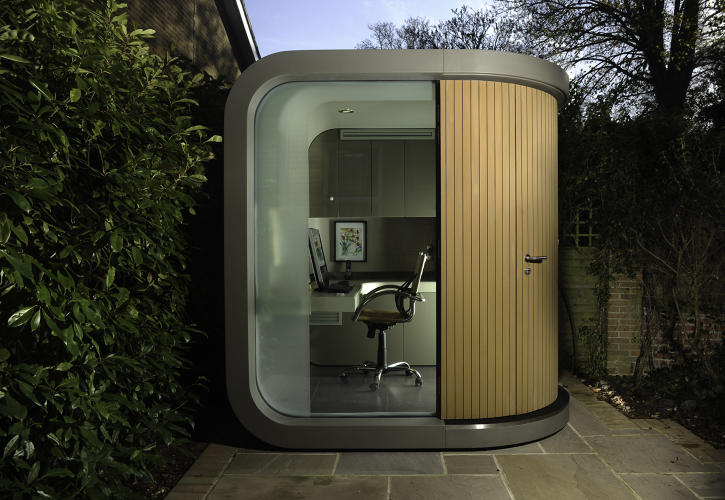 <p>The Office Pod <a href=&quot;http://www.lushome.com/compact-home-office-design-offering-outdoor-sanctuary-working-home/87104&quot; target=&quot;_blank&quot;>appears to be a concept</a>, or at least not widely available to you and me, but it's got a great, toy-like design: a cube with rounded edges and extendable wood slats to cover the two sides that are made of glass.</p>