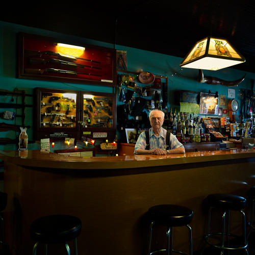 <p>Sprecher's Bar and Gun Shop, North Freedom, established in 1900 by Edwin Sprecher Sr. Junior Sprecher, 90, was born in the apartment attached to the  bar. He still lives there.</p>
