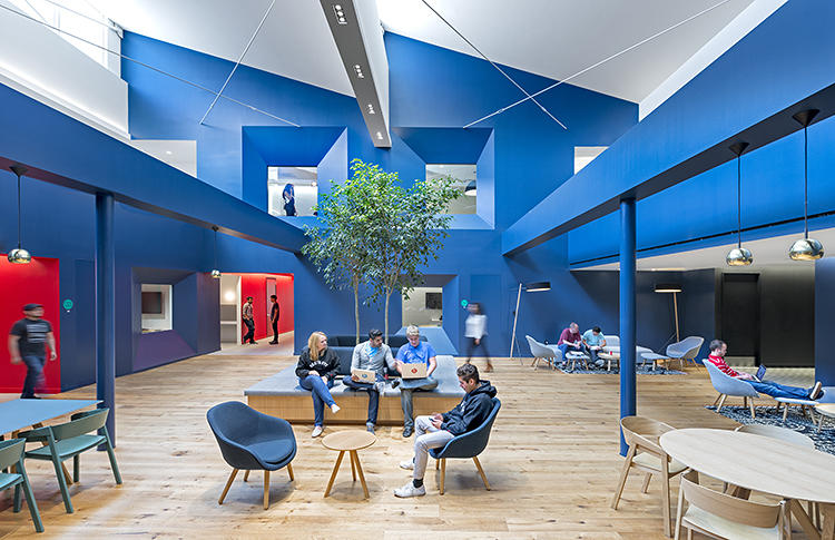 <p>Los Angeles-based architect <a href=&quot;http://bestorarchitecture.com/&quot; target=&quot;_blank&quot;>Barbara Bestor</a> tackled the question over and over again across the Beats campus. In renovating two existing industrial buildings, she meets Wood's musical breadth with a series of architectural gestures that go from pop to cinematic to downright arty.</p>