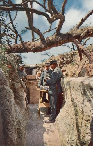 <p>A German trench canteen. About 4,500 full-color images were taken by pioneering war photographers experimenting with autochrome technology.</p>