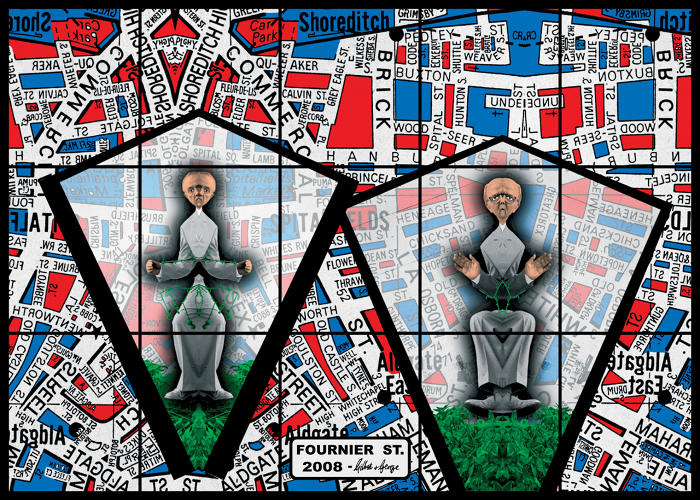 <p>Gilbert &amp; George, artists, <em>Fournier St, 2008</em>, 226 x 317 cm.</p>