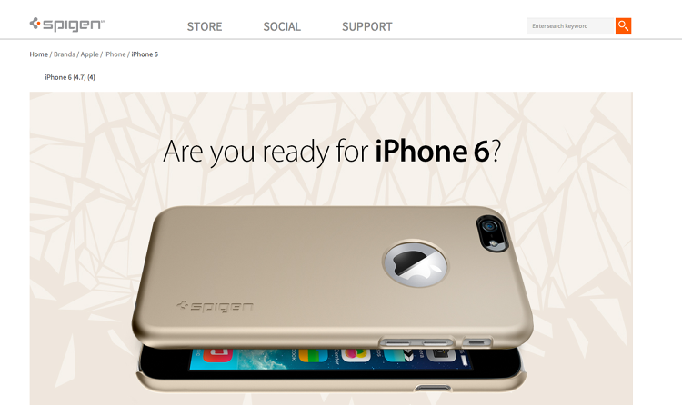 <p>Spigen published a webpage <a href=&quot;http://www.spigen.com/brands/apple/iphone/iphone-6.html&quot; target=&quot;_blank&quot;>dedicated to cases for the iPhone 6</a>, which are now available for pre-order. The problem, of course, is that the next iPhone hasn't been announced yet.</p>
