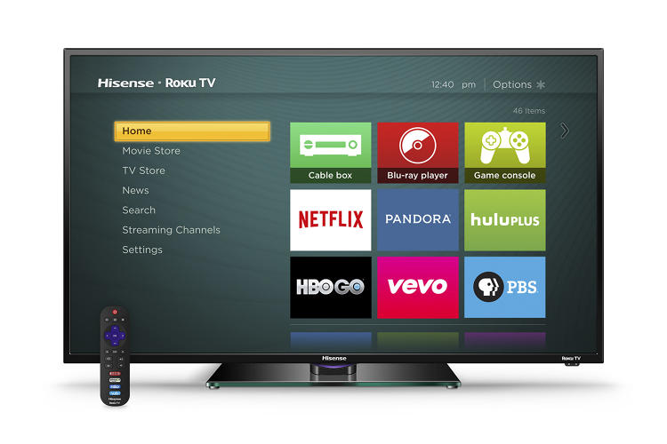 <p>The home screen on Hisense's H4 TV, which incorporates Roku's smart TV operating system.</p>