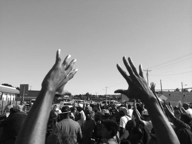 <p>&quot;Chants of &quot;Hands up, don't shoot!&quot; At march and rally not far from scene of Michael Brown killing&quot; - <a href=&quot;https://twitter.com/trymainelee/status/499675317406298112&quot; target=&quot;_blank&quot;>Trymaine Lee</a></p>