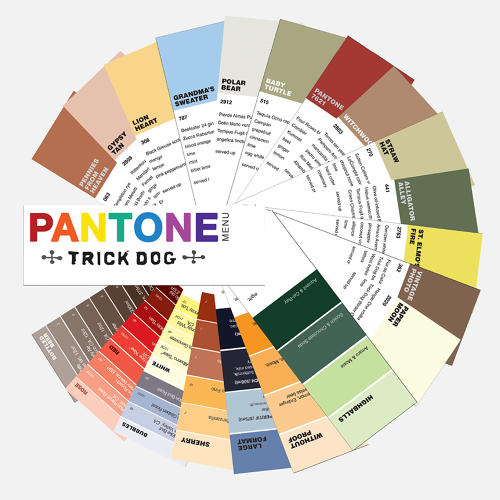 <p>San Francisco cocktail bar Trick Dog has become well known in part for its inventive menus, like this Pantone wheel version.</p>