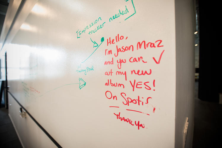 <p>Artists routinely visit Spotify's offices around the world. Singer-songwriter Jason Mraz stopped by the New York office and left this note on a whiteboard.</p>