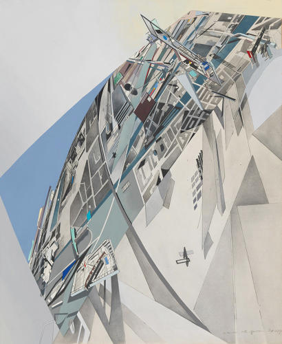 <p>Zaha Hadid, The World (89 Degrees), 1984. Print with hand-applied acrylic and wash on paper, 27 1/2 x 22 5/8&quot;.</p>