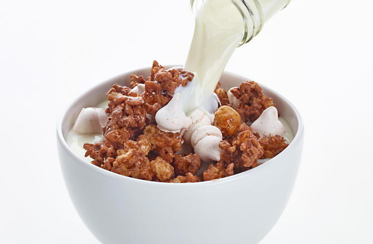 <p>Christmas Morning Cereal--chocolate caramel rice puffs, spiced hazelnuts and micro meringue.</p>