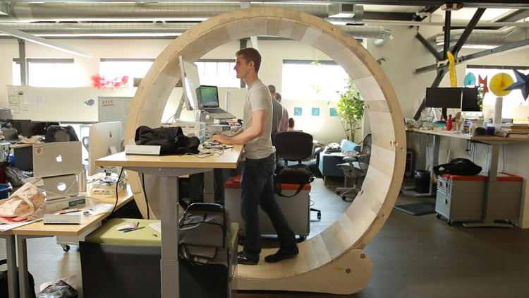<p>The newest way to fight sitting disease at work: A hamster wheel for humans.</p>
