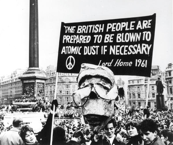 <p>The rally in Trafalgar Square that marked the culmination of the 1963 march from the Atomic Weapons Establishment in Aldermaston in London.</p>