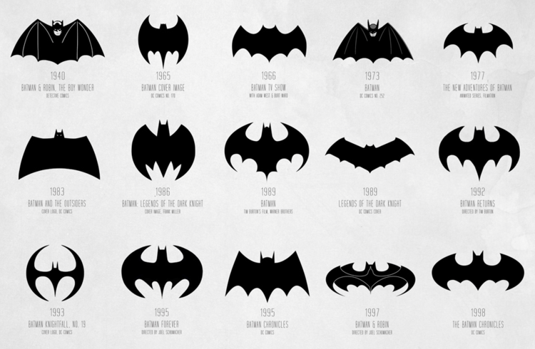 <p><strong><a href=&quot;http://www.fastcodesign.com/1671493/infographic-the-evolution-of-the-batman-logo-from-1940-to-today&quot; target=&quot;_self&quot;>The evolution of the batman logo from 1940 to today </a></strong></p>  <p>Batman's logo isn't just cool-looking. It also has a vital function: When shining on the skies above Gotham, the silhouette alerts Batman that it's time for action. How has the logo changed since Batman's creation in 1940? According to this <a href=&quot;http://www.fastcodesign.com/1671493/infographic-the-evolution-of-the-batman-logo-from-1940-to-today&quot; target=&quot;_self&quot;>infographic</a>, Bruce Wayne has overhauled his alter ego's visual identity some 30 times in the past 75 years.</p>