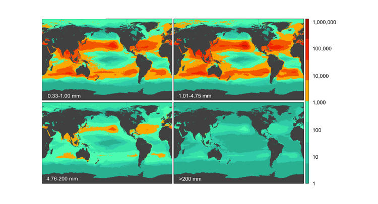 <p>There are 5.25 trillion pieces of plastic in the oceans. This map shows the count density.</p>