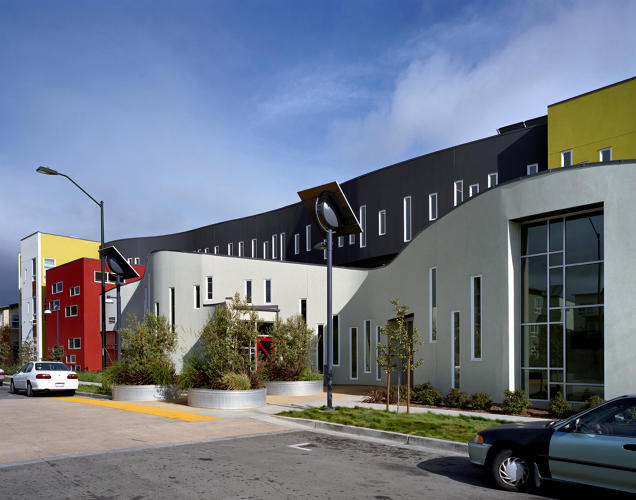 <p>Built on the site of an abandoned factory and rundown public housing in Oakland, the Tassafaronga Village affordable housing development meets the highest LEED standard, with on-site solar power, bioswales that treat stormwater, and new pedestrian paths that connect a formerly disjointed neighborhood to places like a library and a park.</p>