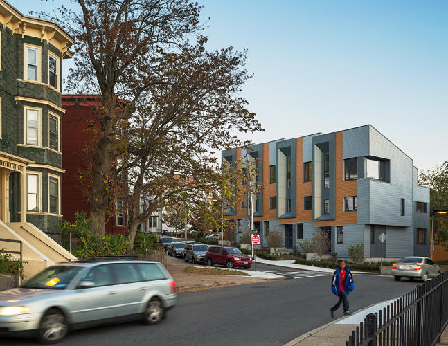 <p>Designed under a city program for energy positive housing, the E+Townhouses use ultra-thick walls to stay warm without extra heat during Boston winters.</p>