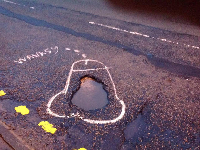 <p>Going by the name &quot;Wanksy,&quot; he draws penises around potholes.</p>