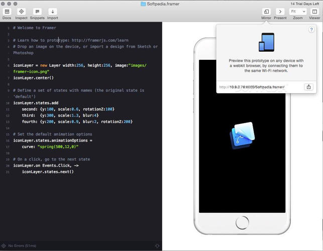 <p>Framer Studio: A prototyping tool for interfaces, interactions and animations.</p>