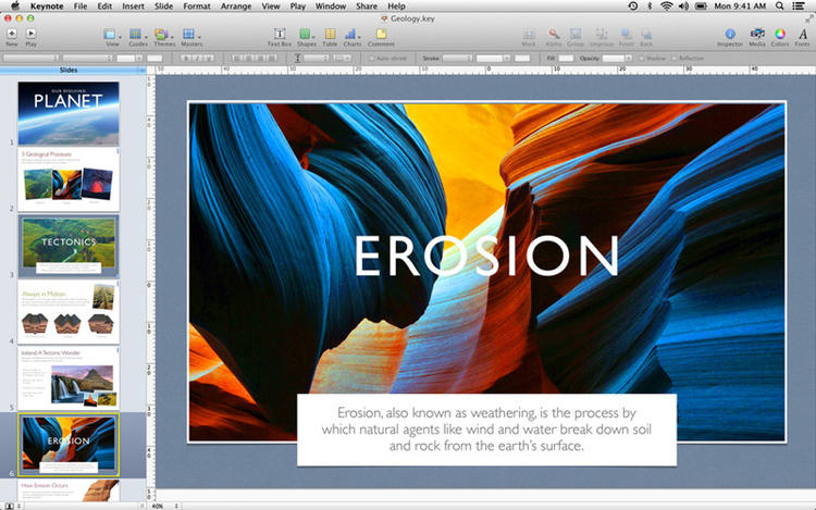 <p>Keynote: Apple's version of Powerpoint, Keynote is software for creating presentations, available on the iPad and Mac.</p>