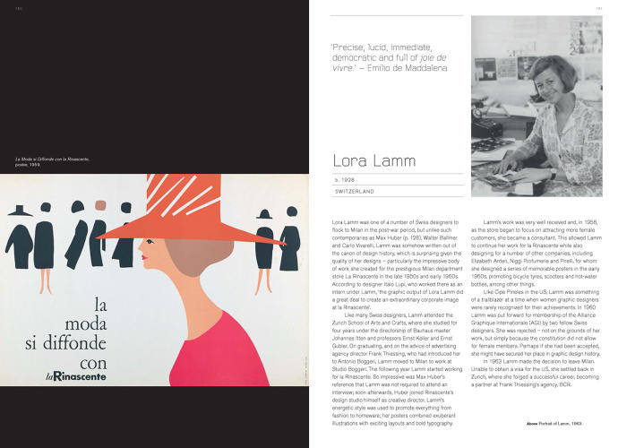 <p><strong>Lora Lamm</strong><br /> &quot;One of many Swiss designers to emigrate to Milan after World War II, unlike her contemporaries—until quite recently—Lora Lamm was written out of graphic design history,&quot; Roberts says.</p>