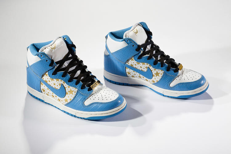 <p>Nike's collaboration with Supreme yielded the Dunk High Pro SB. Rap trio De La Soul also came out with a camouflage-leather version of the shoe.</p>  <p>Collection of Sheraz Amin</p>