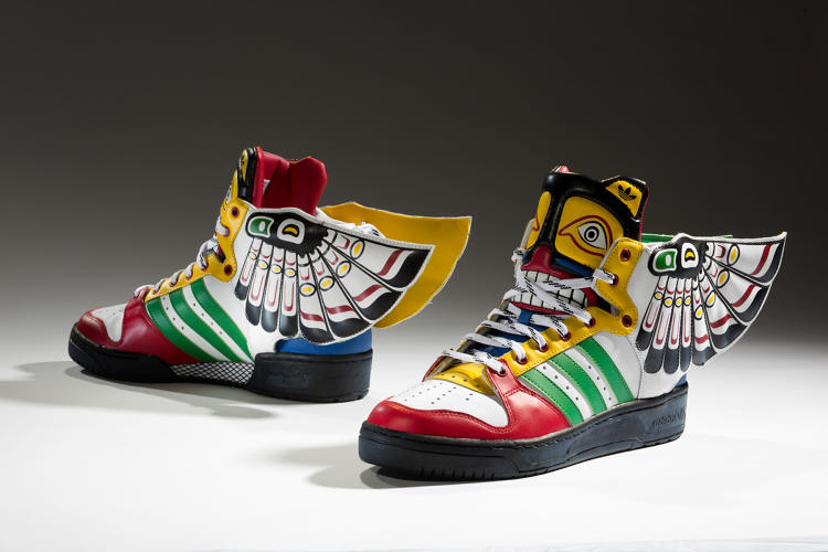 <p>Designer Jeremy Scott drew on west coast Native American traditions to create this Totem shoe for Adidas.</p>