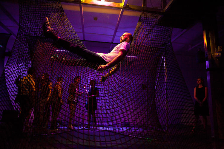 <p>The programmers took apart the song into different tracks and assigned each sound to a motion-sensor in the installation. Climbing on the nets triggers one of the Kinect sensors which in turn plays a certain sound.</p>