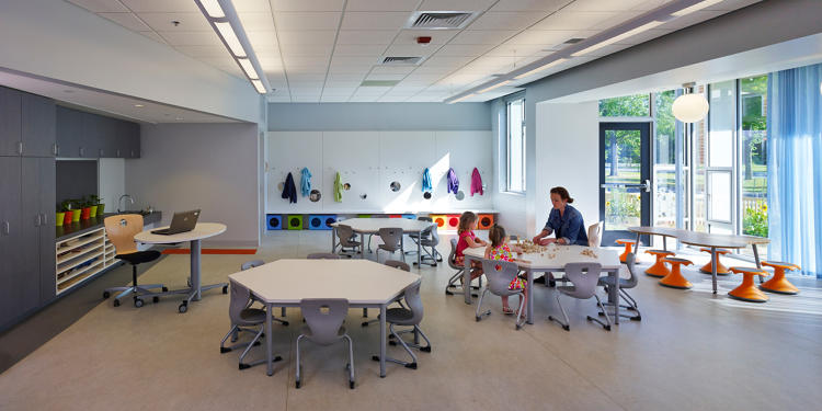<p>Nearby, the teaching kitchen gives them a kid-safe way to learn how to make their own food, and a food lab was designed for food-related science experiments.</p>