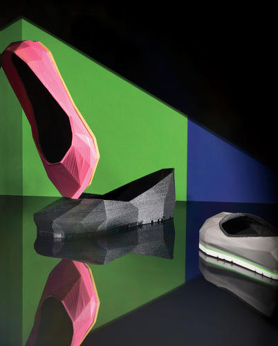 <p>Feetz's Gemstone flats, made from TPE 3-D-printing filament.</p>