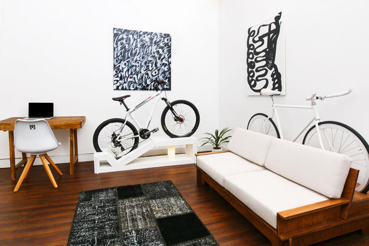 This sofa bookcase and desk all double as places to store your bike co exist ideas impact - Bike storage small space design ...