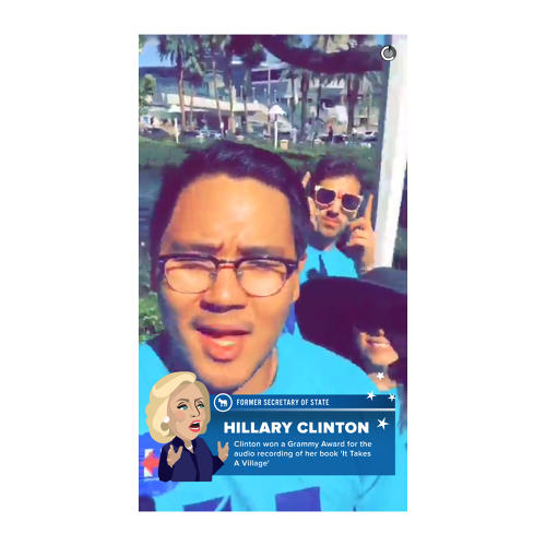 <p>Taken the day of the Democratic debate, this snap is notable for its location-based filter, which highlights a fun fact about Hillary Clinton.</p>