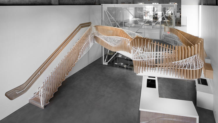 <p><strong><a href=&quot;http://www.fastcodesign.com/3053548/this-mind-boggling-staircase-feels-like-its-alive&quot; target=&quot;_self&quot;>3DS Culinary Labs' Mind-Boggling Staircase by Oyler Wu</a></strong><br /> At the 3DS Culinary Lab in Los Angeles, California, chefs are invited to wear their mad scientist hats and whip up newfangled foods—anything goes, as long as it's edible and 3-D printed. To capture this spirit of inventiveness, Oyler Wu Collaborative designed the lab a mind-boggling staircase that looks like MC Escher mated with MakerBot.</p>