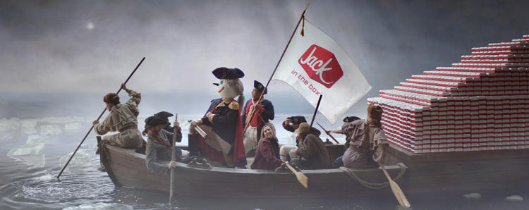 <p>&quot;Jack Washington&quot; is the latest incarnation of Jack in the Box's iconic Jack Box mascot. An upcoming commercial promoting the menu overhaul will show Washington crossing the Delaware River in search of better burgers.</p>